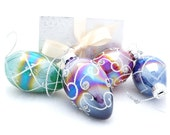 Small Christmas Tree Ornaments - Iridescent Glass Oval Teardrop Shape Hand Painted Inside in Red Green Purple and Blue - Gift Tag