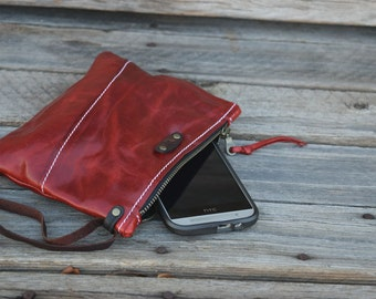 Mini Leather Zippered Purse /  Phone Case / Camera Wristlet / Leather Pouch / RED LeatherPurse / Handmade
