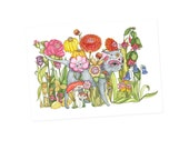 Cat Card -  Day of the Dead greetings card birthday cards - no wording - dreams flowers cats dia de los muertos