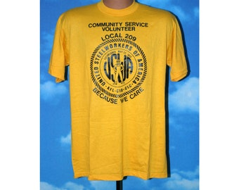 United Steelworkers of America Local 209 Volunteer Large Tshirt Vintage 1980s