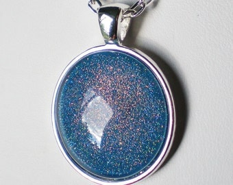 Deep Turquoise Blue Holo Nail Polish Necklace Jewelry