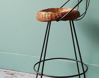 Mid Century Wrought Iron Back Legs Wicker Rattan Seat Bar Stool