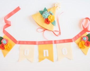 PARTY PACK Hat & Bunting // Smash Cake // Photo Prop // Baby Girl Birthday //Fiesta Birthday // Flower Crown