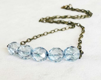 Dainty Light Blue Crystal Bar Necklace, Layering Boho Chic Necklace, Boho Chic Jewelry, Layered necklace. Gift for her, Gift for Mom