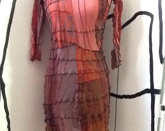 Red Ochre Patchwork Dress S/M