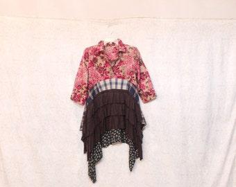 REVIVAL Women's Upcycled Boho Shirt, Shabby Chic Country Romantic Bohemian Junk Gypsy Style, Small Medium, Recycled Repurposed EcoFriendly
