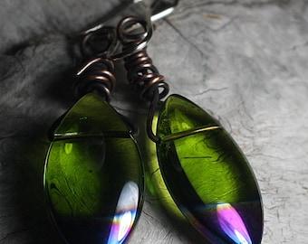 Earrings Green Copper Earrings Copper Jewelry