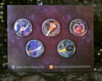 "Holo Outer Senshi in Space 1.25"" Individual Buttons"