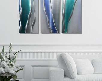 NEW! Silver, Blue and Teal Metal Painting - Modern Metal Wall Art - Painted Metal Accent - Home Decor - Glacier Falls 3 by Jon Allen