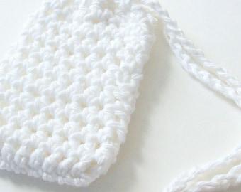 Cotton Crochet Soap Saver, White Crochet Soap Saver, Crochet Soap Sack, Crochet Soap Bag, Reusable, Ecofriendly