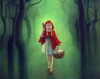 SALE! - 'Little Red Ridinghood gets Even' - twisted fairytale art print, signed