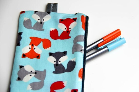 Pencil case - Zipper pouch - foxes - fox - turquoise - red - orange - gray - toys - jewelry - pencils - handbag - gift - boy - girl -toddler