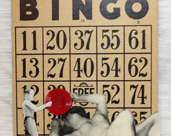 Little man & the Diva Bingo Card Collage