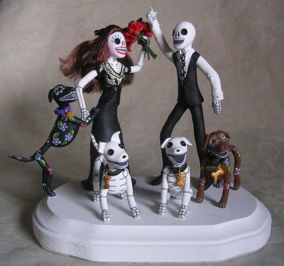 day of the dead wedding cake topper bride and groom items similar to custom day of the dead wedding cake 13361