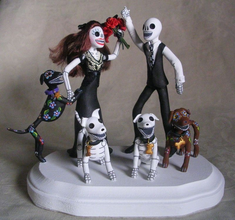 custom day of the dead wedding cake topper skeleton bride