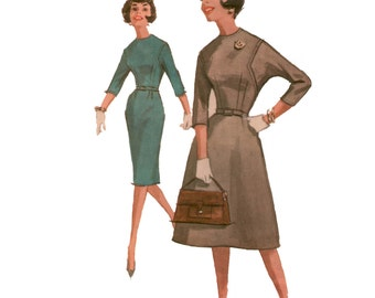 60s Wiggle Dress pattern vintage 36-28-38 Hourglass dress Bust 36 Sheath Dress dolman sleeves A-line skirt Slim/Full Dress