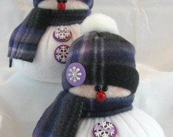 Set of 2 SNOWMEN DECORATION, Snowman Ornament, Christmas Decoration, Christmas Ornament, Fleece Snowman, Stuffed Snowman