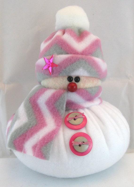 Handmade Stuffed Snowman Decoration, Christmas Holiday Decor, Snowman Christmas Ornament, Winter Decor Little Bit Pink & Grey Chevron Fleece