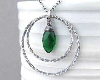 Long Silver Necklace Pendant Emerald Necklace Green Necklace Large Silver Circle Necklace Bohemian Jewelry - Large Shimmer Layers