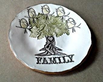 Ceramic Family Tree with 5 Birdies Ceramic  Trinket Bowl edged in gold