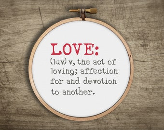 modern love cross stitch pattern ++ vintage typewriter font ++ dictionary definition ++ pdf INsTAnT DOwNLoAD ++ hipster ++ handmade design