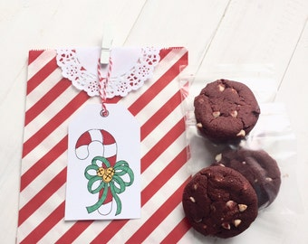 9 DIY Christmas Cookie Bag Candy Bag Gift Bag Color Me Tags for Co-workers, Neighbors, Friends, Letter Carrier, Teachers