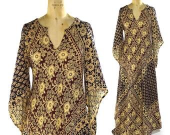 70s Pakistan Cotton Caftan / Vintage 1970 Boho Ethnic Dress / Angel Sleeves / Floral Block Print / Maxi Length Indian Cotton Hippie Bohemian