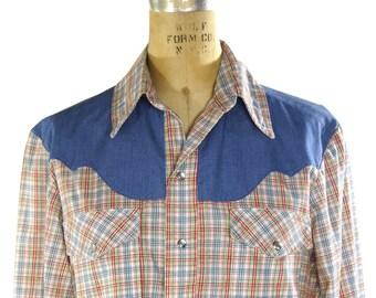 70s Pearl Snap Western Shirt / Vintage 1970s Plaid Cotton Cowboy Shirt / Two Tone Contrast Yoke / Handmade OOAK / Womens Medium / Mens Small