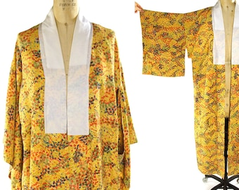 Silk Leaves Kimono / Vintage 1940s Abstract Fall Foliage Pattern Bohemian Duster
