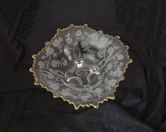 Cambridge Crystal Console Bowl Blossom Time aka Martha, Vintage Etched Glass, Gold Rim