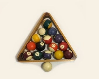 Billiard Pool Balls & Wood Rack, Vintage High Skore, Mancave Decor, Photo Prop
