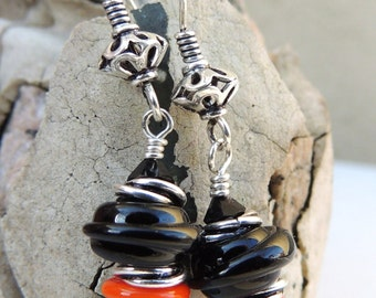 Spunky Handmade Lampwork Bead Dangle Earrings