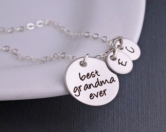 Best Grandma Ever Necklace in Silver, Mother's Day Gift for Grandma, Custom Jewelry for Grandmother, Birthday Gift for Grandma