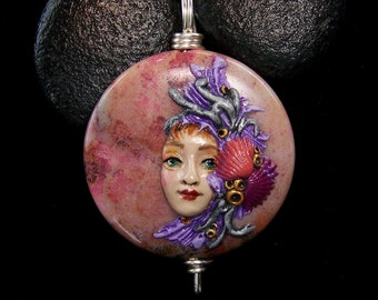 Mermaid on Fossil Coral Pendant or Bead a handmade, OOAK crafted with polymer clay and natural stone