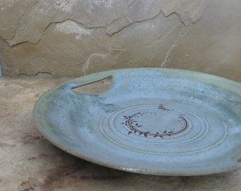 Serving Plate Platter - Handmade Stoneware Pottery Ceramic - Desert Moss Green - Vines with Cicada
