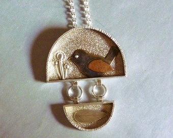 Mixed Metal Bird and Flower Art Pendant and Chain