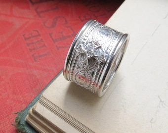 Wide Band Maltese Cross Ring Renaissance Style Band Medieval Style Ring Statement Ring Sterling Silver Patterned Ring Cigar Band Ring