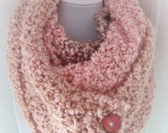 Knitted Infinity Scarf, Coral Striped Knitted Scarf, Hand Knitted Scarf