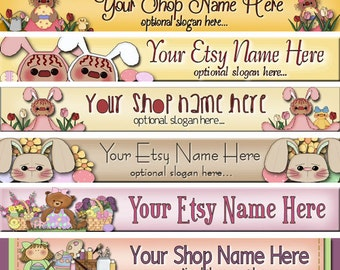 Premade Etsy Shop Banner - SHOP ICON - Seasonal - Primitive Easter Eggs - Easter Bunnies - Tulips - Raggedy Annies