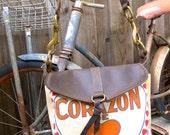 Corazon De Oro- Heart of Gold RARE- Small Leather Messenger - Americana Canvas Leather Handbag- vintage fabric.. Selina Vaughan Studios