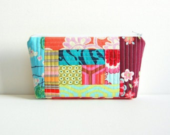 Quilted Patchwork Makeup Bag, Cosmetic Case, Padded Zipper Pouch, Women, Teens, Amy Butler Fabric