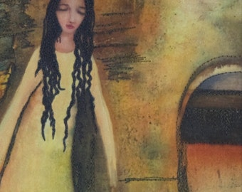 Archway...Mixed Media on Cotton. Figurative Landscape.