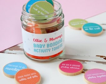 Mummy And Baby Personalised Baby Bonding Activity Tokens Jar - First Mother's Day Gift - Mothers Day Gift - Mummy Keepsake - New Mum Gift