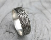 BARNWOOD cedar woodgrain ring faux bois mens sterling silver wedding band Made to Order