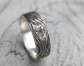 BARNWOOD cedar woodgrain ring faux bois mens sterling silver wedding band Made to Order