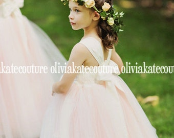 Gorgeous Blush Flower Girl Dress Floor Length