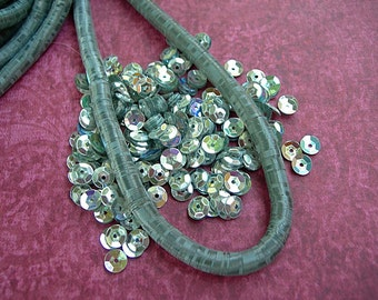 Vintage French Sequins SILVER AB 5mm cupped metallic couture Paris lot full strand