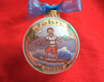 Surf's Up!, Handpainted, Personalized Ornament, Customized and Totally Original