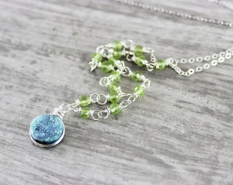 Light Green Druzy Necklace, Druzy Gemstone Necklace, Peridot Stone Necklace, August Birthstone Jewelry, Sterling Silver Necklace, Drusy