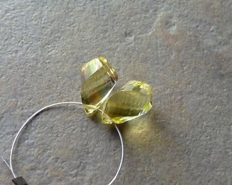 AAA Lemon Quartz Faceted Twisted Tear Drop Briolettes - 7x11mm - Matched Pair